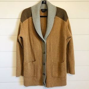 Pendleton Color Block Collared Long Cardigan